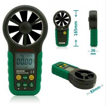 MASTECH MS6252A Handheld Digital Anemometer Wind Speed Meter Air Flow Tester with Bar Graph